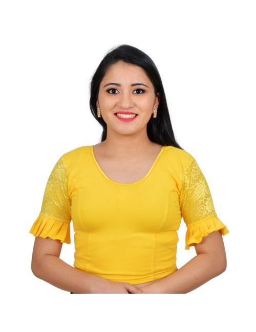 5b5a4b29799c93 Areum Yellow Ruffle Sleeves U neck Stretchable Cotton Lycra Saree Blouse