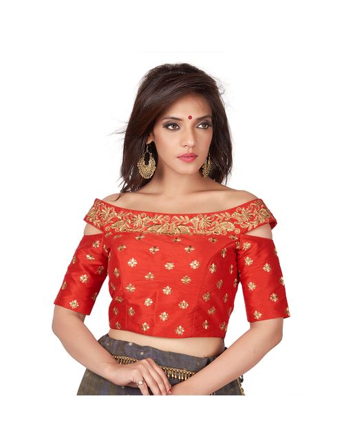 a0c076a89d079 Rinkoo Red Embroidered Cold Shoulder Designer Readymade Saree ...
