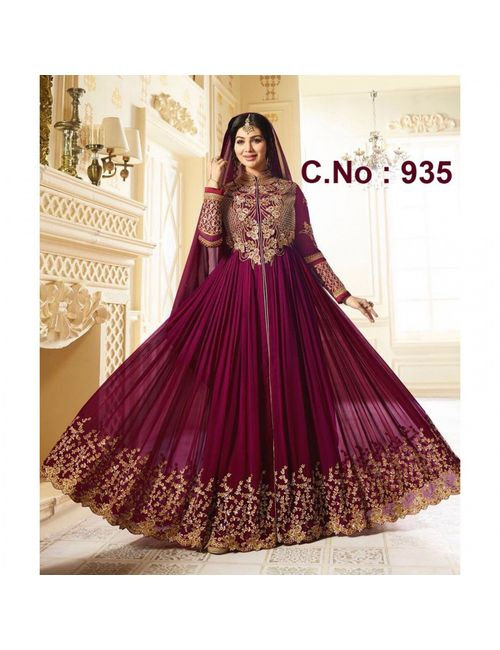 bb03b3981266 EID SPECIAL COLLECTION- Beautiful Deginer Purple FOx Georgette With  Embroidered Work ANarkali Gown (935)