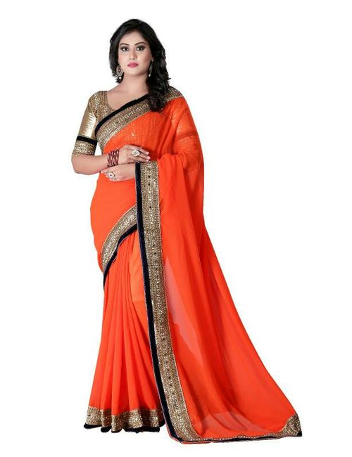 4ad38854d0eb49 Tiana Creation Orange Georgette Border Work Party Wear Saree