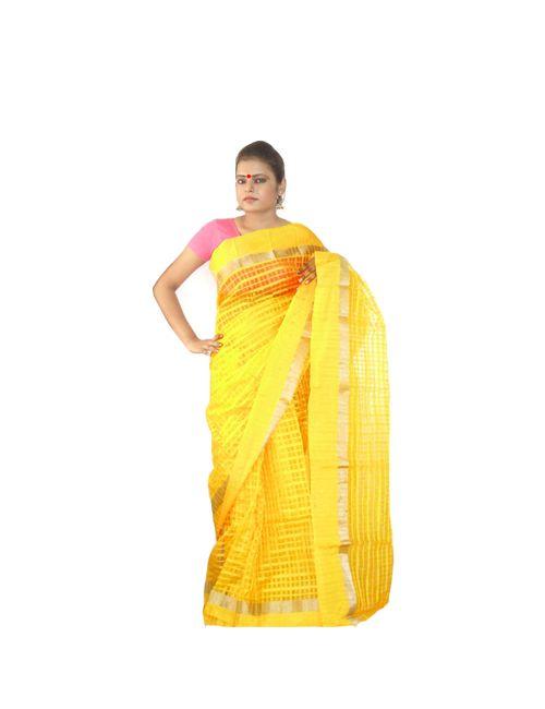 569fe42f43 Viukart Yellow Self Design Handloom Saree