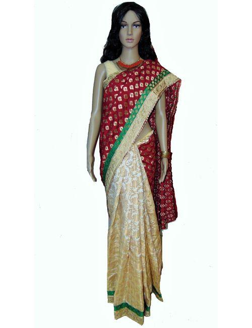 975e304003 Viukart Maroon Half   Half Designer Party Wear Saree