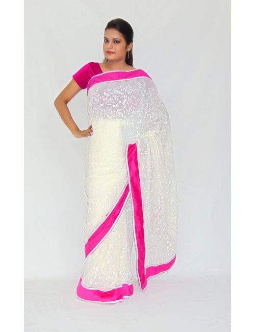 ebd4df29f8 Viukart Party Wear White Embroidery Saree