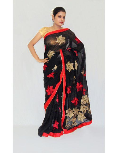 78201efc78 Viukart Black Party Wear Embroidery Designer Saee