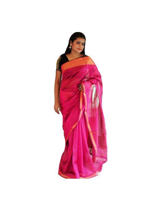 62ac3e1a5c Viukart Pink Self Design Party Wear Handloom Saree