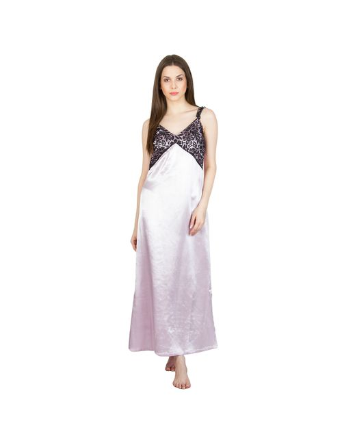 ec1d9006d1 Patrorna Long Length Slip Purple with Designer Black Lace Natural Handloom  Fabric Nighty
