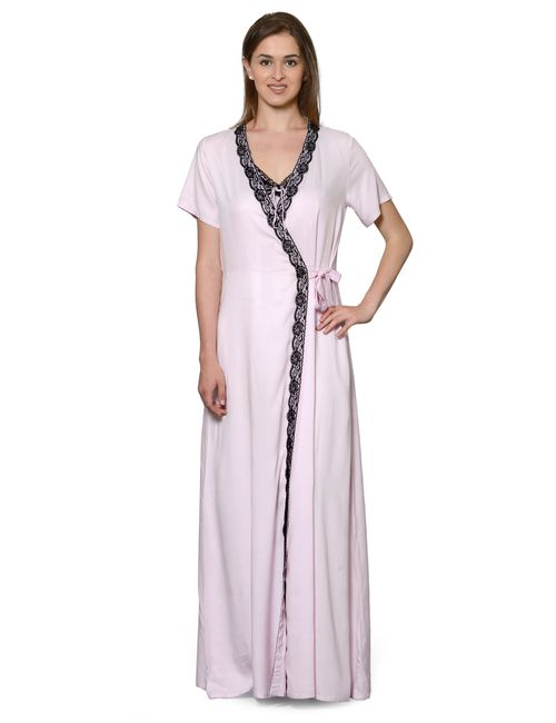 d6c628251f Patrorna Long Length Two Piece Pink Stylish Natural Fabric Nighty with Robe