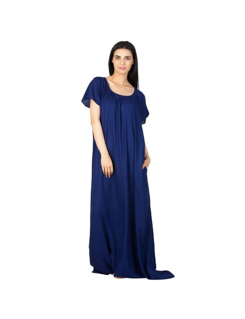 Patrorna Long Length Vibrant Navy Blue Natural Fabric Nighty f4fa6439a