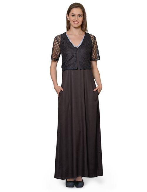 7b2ce56a6ce Patrorna Two Piece Midnight Black with Stylish Designer Top Shrug ...