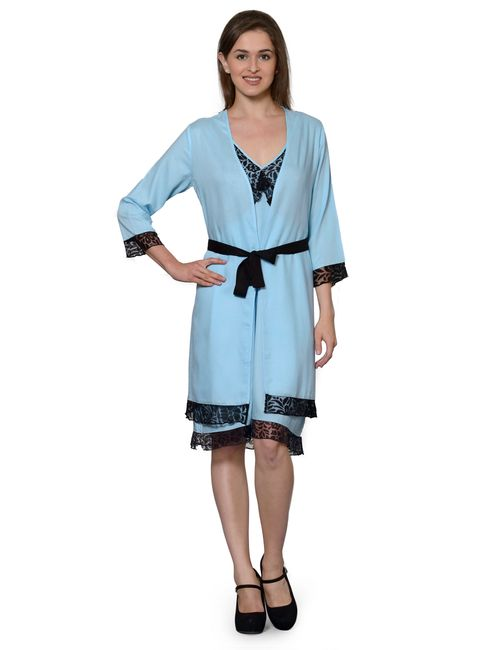 Patrorna Two Piece Ocean Blue Nighty with Robe 1a938e05f