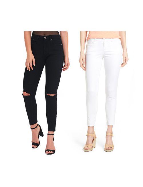 f5e98b62114f Ansh Fashion Wear Women s Denim Jeans - Contemporary Regular Fit Denims for  Women - Mid Rise Ankle Length Jeans - White   Black pack of 2 W-2CM-WHT-T9F