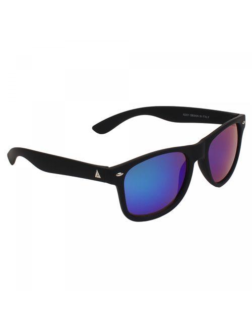 cdfd3666cc2 Adam Jones Premium Blue Mercury Matt Finish UV 400 Wayfarer Sunglasses for  men and women (Black Rubber Coated Frame with Mercury Lens)