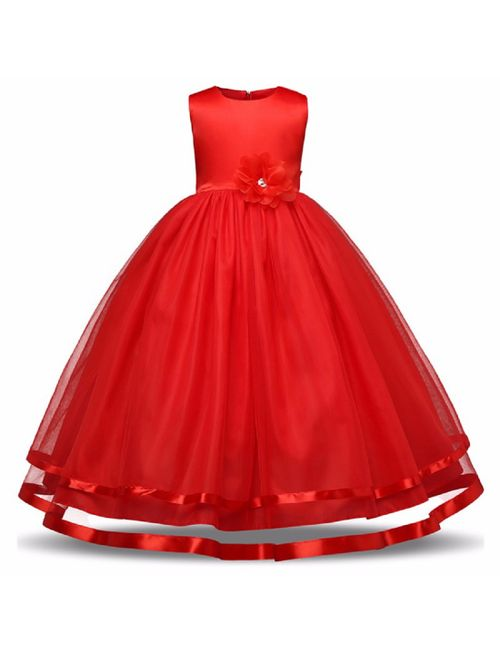 6c52a32f2e6 Sofyana Red girls party wear costume for chlidren summer princess wedding  gown dress 273