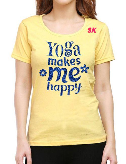 d8fce5bcf 180 gsm Premium 100 Percent Cotton Women's Round neck Yellow TShirt - M-L-XL-  Blue Glitter Design-With YOUR OWN INITIALS
