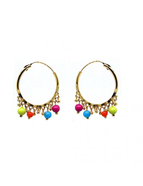 Beautiful Colorful Gold Plated Designer Small Bali Hoops Ethnic