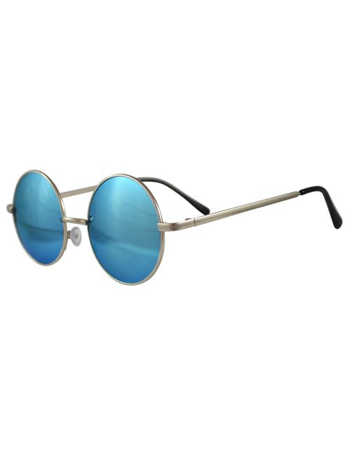 6ea129fb32e Sunglasses blue round gandhi type with silver frame for men