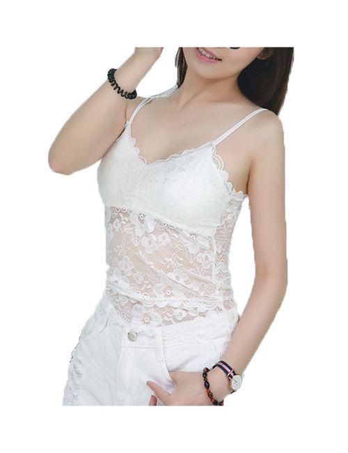 7c651b6482 BJAC Sexy Floral Double Sling Lace Hip Length Camisole Vest (White)