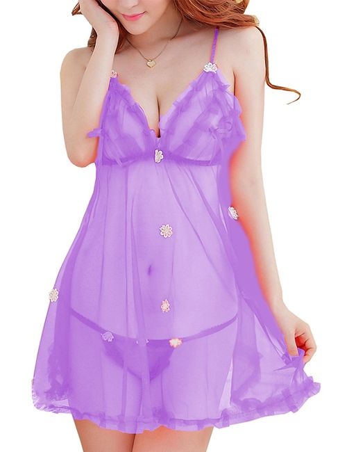 73dfbe4ab338 Waooo Best Women s Honeymoon Lingerie For Women   Ladies and Girls Nightwear  Net Babydoll Dress Sleepwear W-NW-1 Free size with better comfortable  34-Purple ...