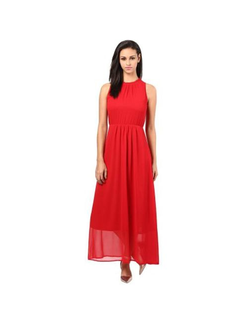 e0615aa26403 Fabfirki Red Plain Long Georgette Western Dress