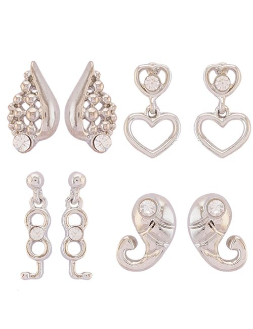 f62e2431c669 Mahi Rhodium Plated Combo of Trendy Crystal Earrings for girls and women  CO1104742R