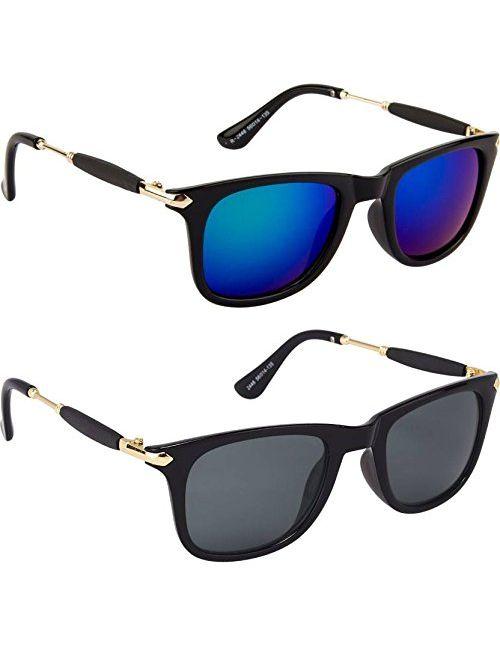 f18c28477b6 Royal Wood Mens Sunglasses Low Price Combo Stylish Set of 2 Fashion  Wayfarer Goggle and Sunglasses for Men Branded Women Boys and Girls Unisex  (Golden ...