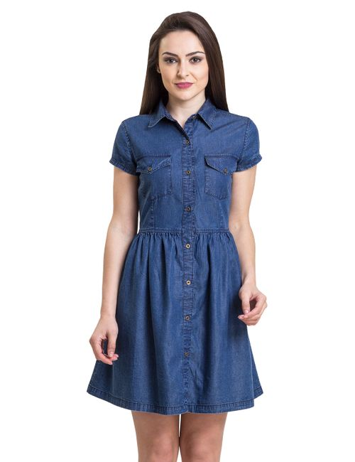 92db9e58e50 IRALZO Berry blue denim tunic for women