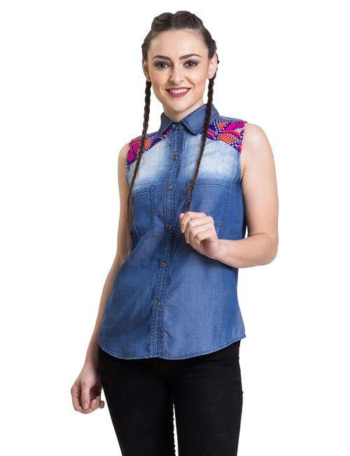 34be93c40e0834 IRALZO sleeveless denim shirt for women