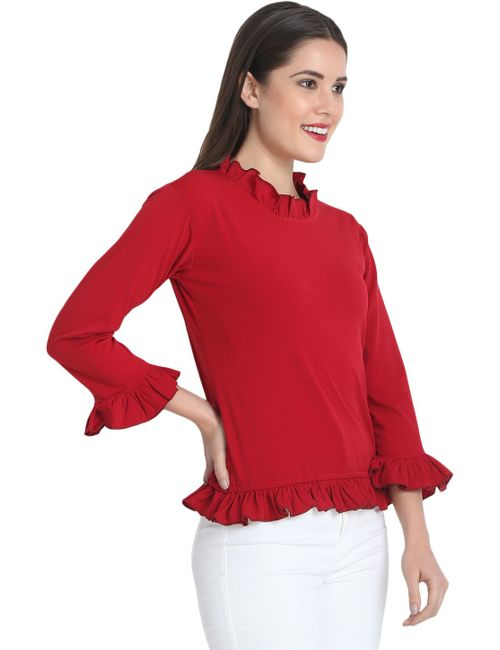 5243995941d4 BuyNewTrend Maroon Cotton Blend Frill Long Sleeve Top For Women