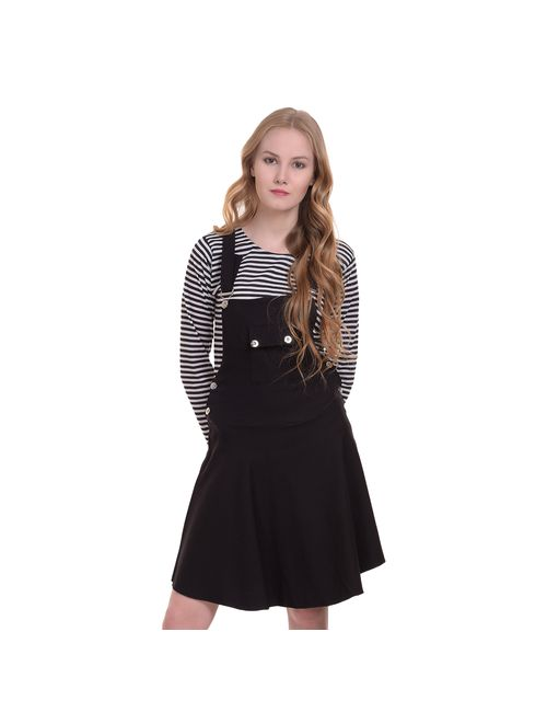 6c353e049be BuyNewTrend Cotton Lycra Black Dungaree Skirt with Top For Women