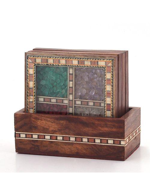Saudeep India Gem And Stone Design Tea Coastersshowpiece