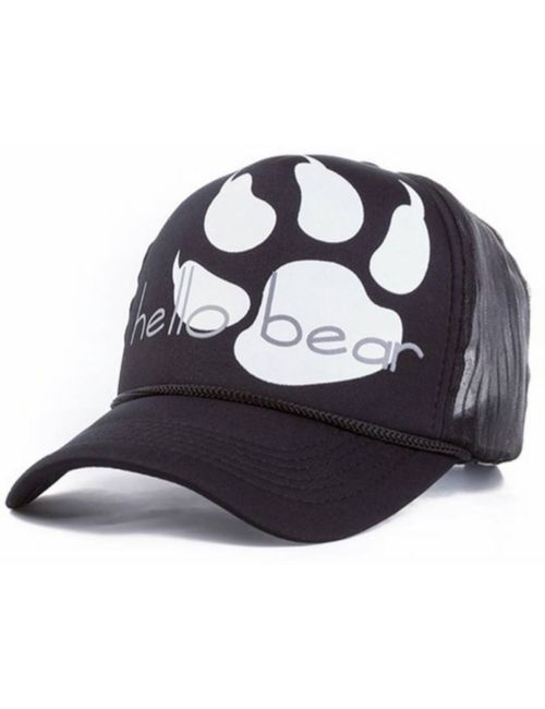 85415cfa2a3 Friendskart Printed Half Net Cap In Baseball Style Front Side Printed Hello  Bear In Black For Boys And Girls Cap