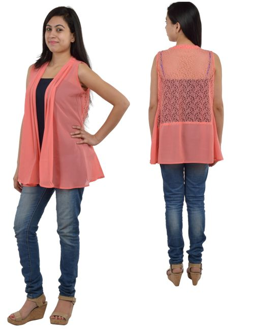 34504fb33c4 Timbre Women Georgette Net Shrug Peach