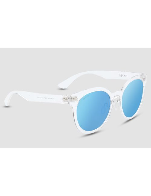 20c81845da82 REACTR Polarized Sunglasses for Men Women Transparent White Sunglass with  Blue Lens Round Eyewear Men Women Sun Glasses Unisex  Size Medium