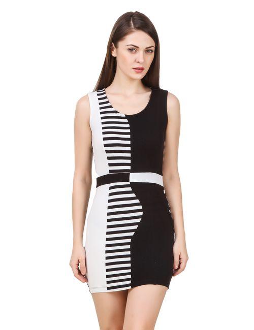 0da16eae85 Texco women s black   white striped bodycon party dress