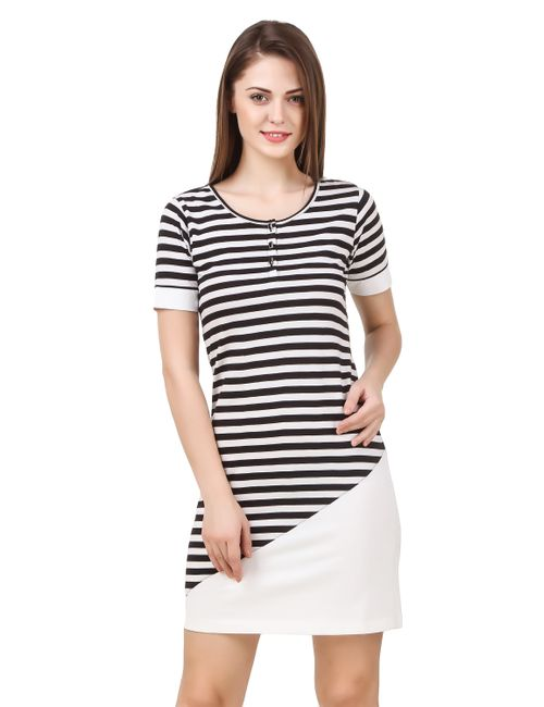 1bd606dd3cbe8 Texco women s black   white striped asymetrical constructed summer dress1