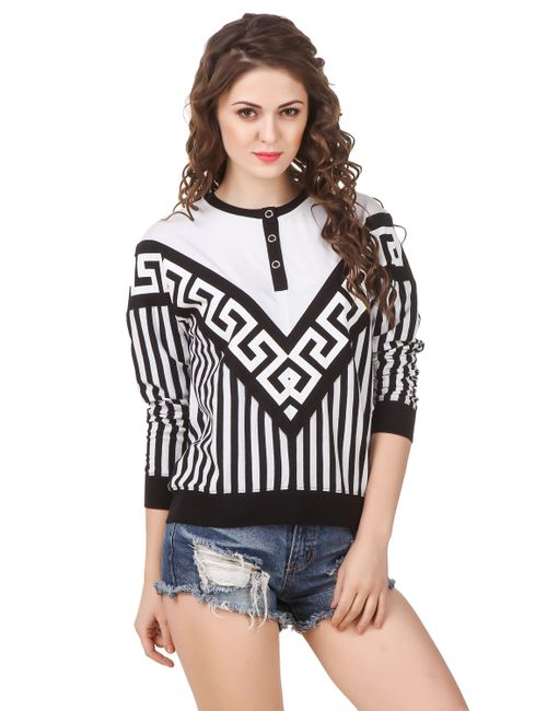 de28008c97bbd Texco Women s Black   White Striped   Printed Loose Fit Mock Neck ...