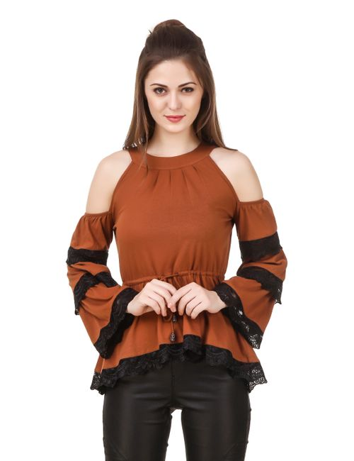 96b6c77bd8266 Texco Women s Brown Cold Shoulder Tired Lace Inserted Sleeve ...