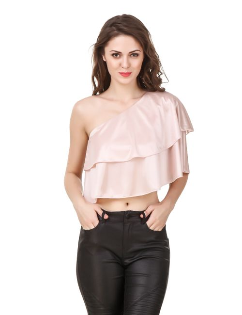 30a81c67882b3 Texco Women s One Off Shoulder Blush Pink Ruffled Crop Top