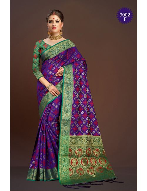 d2a2fe2d9af4a1 RJ Trandz Purple Banarasi Silk Saree With Blouse