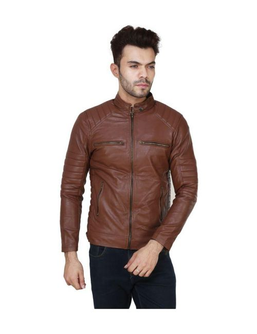 3439ac83580d Formal Wear Brown Pu Leather Plain Biker Jacket For Men   Boys