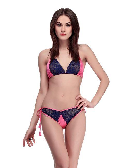 2411e313e7d80 Luvclick women s pink Poly Satin Bra   Panty Set