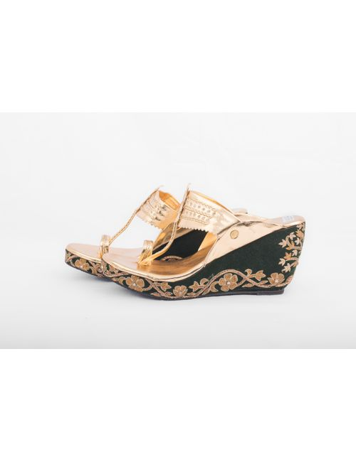 920f3cfa5c9e GOLDEN   GREEN KOLHAPURI WEDGES WITH EMBROIDERY