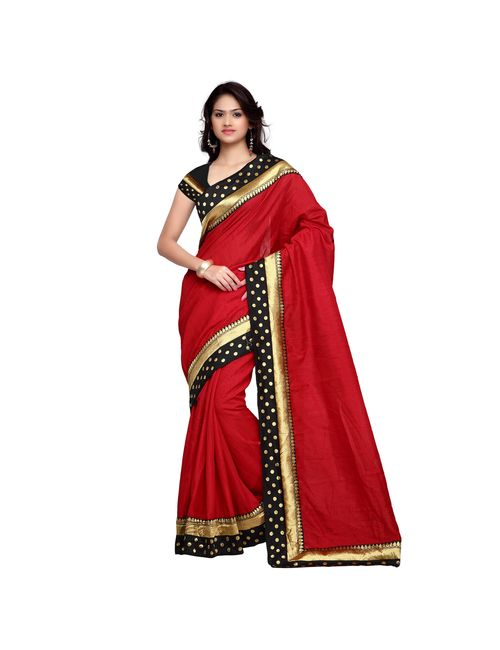 55ced94241542 Red Plain Art Silk Saree With Golden Border Along With Blouse Piece