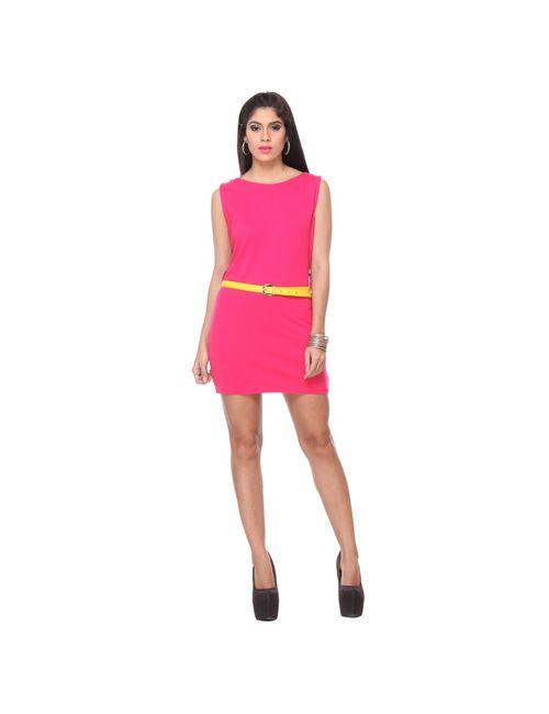 9a55bfcab0e2c4 Lavennder Western Wear Fushia Pink Stylish Sleeveless Dress With Belt
