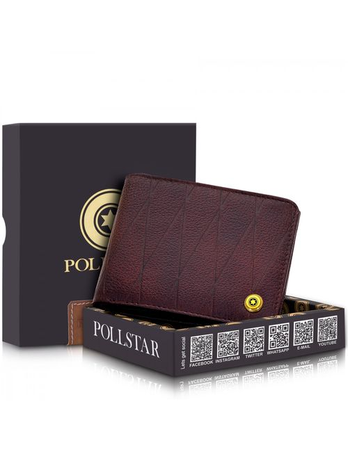 5b22942d23ad POLLSTAR RFID secure genuine Leather Wallet with Side Flip Double ID Window  (WL60BN)