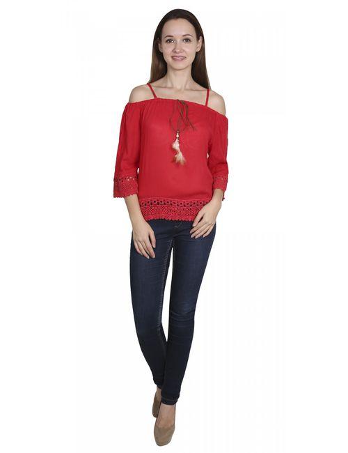 b66597aa6f Aadrika Women s Designer Tops Red Colour Rayon
