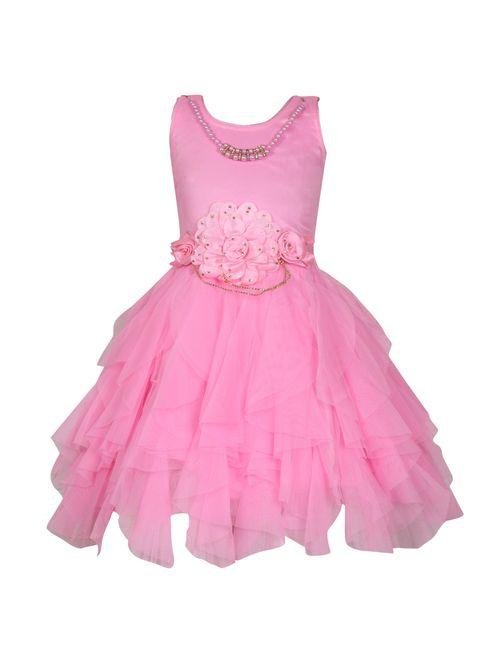 2c22674a2d04 KBKIDSWEAR Girl s Net Extra Flare Party Wear Frock