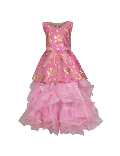 b5cd59ac8edf KBKIDSWEAR Girl s Net Extra Flare Floral Print Ball Gown 32