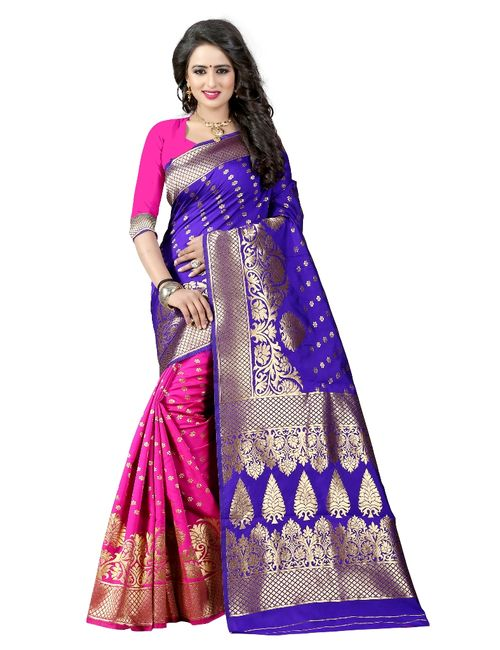 f4e5f089e6a0e6 Butter Silk Fashion Banarasi Silk Blue And Pink Saree With Blouse