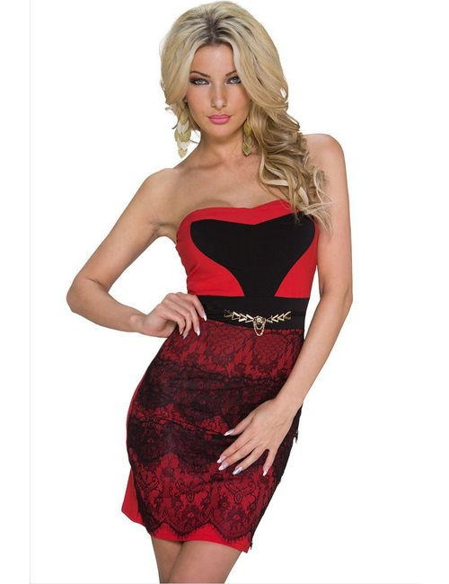 2713beaf0111 Streetkart Red Lace Romantic Embellished Cocktail Mini Dress
